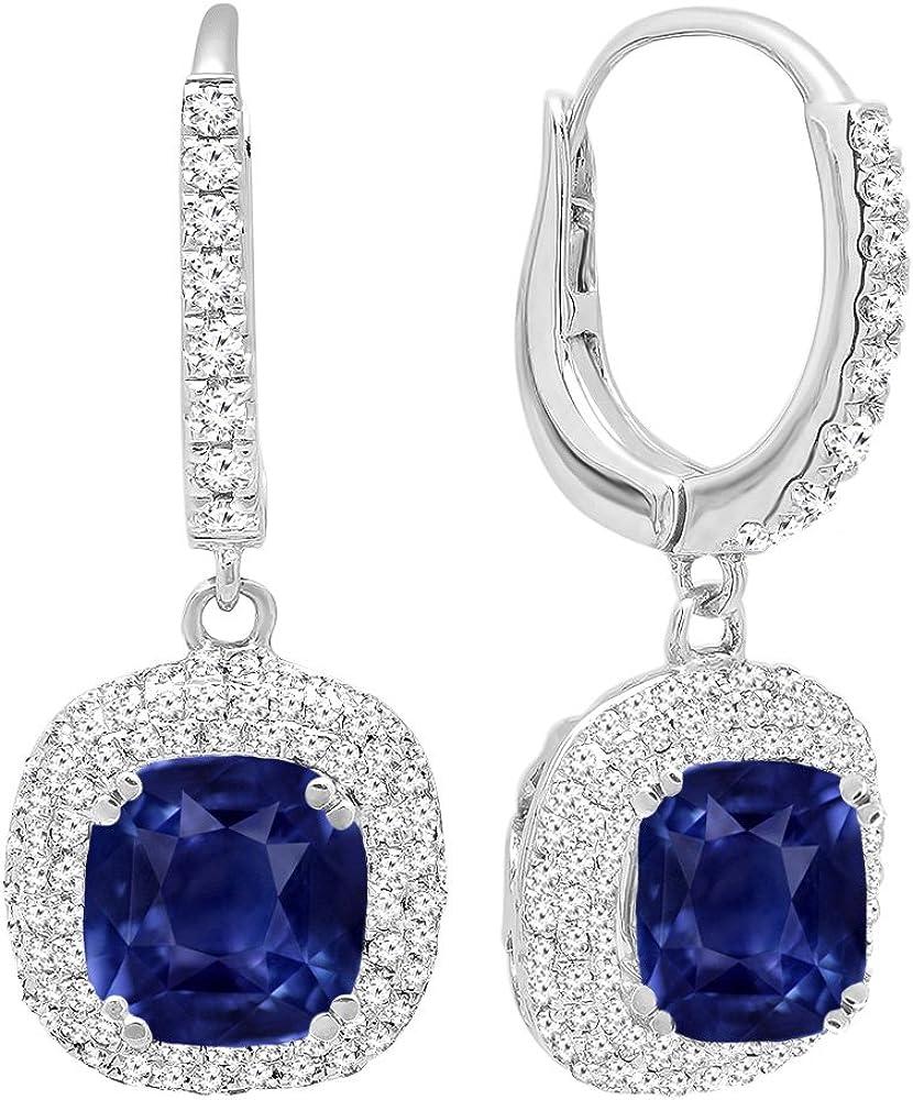 DazzlingRock Collection 14K Oro 6MM Cada Piedra Preciosa del Amortiguador y Mujer Redondas del Diamante halo Pendientes Colgantes Zafiro Azul