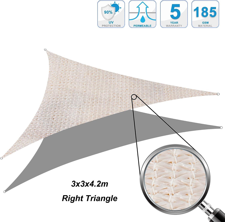 Colore Sabbia Cool Area Tenda a Vela Triangolo Rettangolo 3 x 3 x 4.2 Metri Protezione Raggi UV Resistente e Traspirante