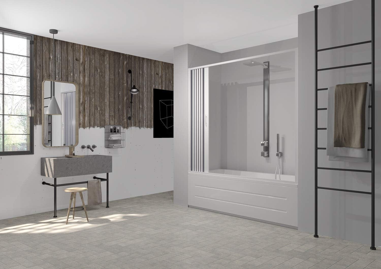 mampara de ducha para bañera Apertura Lateral de PVC Blanco 170 – 140 cm, altura CM Dolphin: Amazon.es: Bricolaje y herramientas