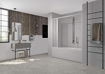 mampara de ducha para bañera Apertura Lateral de PVC Blanco 170 ...