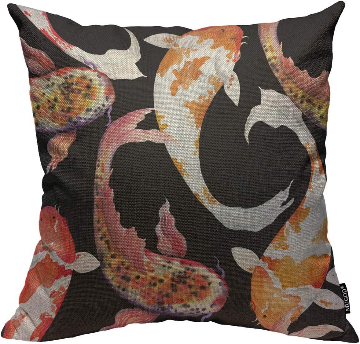 Mugod Throw Pillow Cover Watercolor Japanese Fish Carp Koi Seamless Pattern Swimming Decorative Square Pillow Case for Home Bedroom Living Room Cushion Cover 18x18 Inch