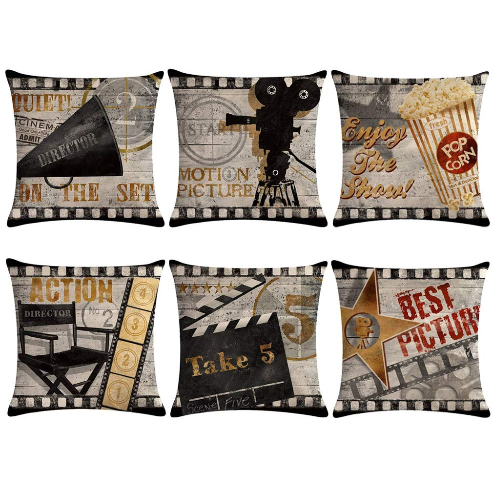 U-LOVE Modern Simple Geometric Style Pillow Covers Black /&Beige Stripe Soft Linen Burlap Square Throw Pillow Cases Set of 6 JH-1 18 x 18 Inches Geometric-1