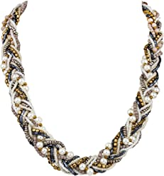 """SIX """"Trend Damen Halskette, geflochtene Statement-Kette mit Perlen in Weiß, Blau, Grau, Gold (458-090)"""