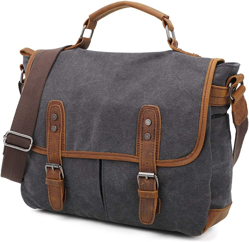 Gimay Messenger Bag Canvas 15.6 Inch Durable Laptop Case Handbag Business Briefcase Multi-Functional