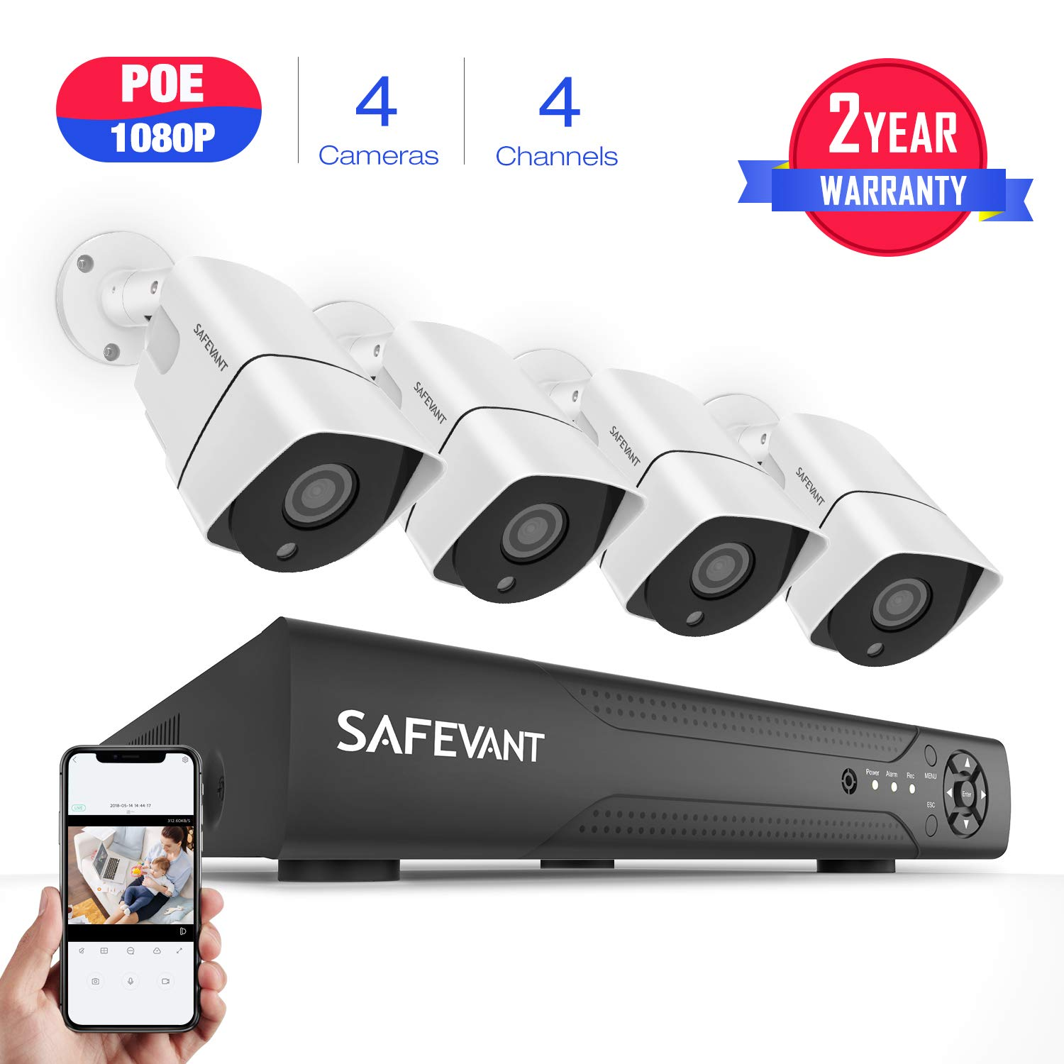 [2019 New] PoE Security Camera System,SAFEVANT 1080P Home Security Camera System w/ 4 Wired 1080P Outdoor PoE IP Cameras, 4 Channel PoE NVR Security Camera System,NO Hard Drive
