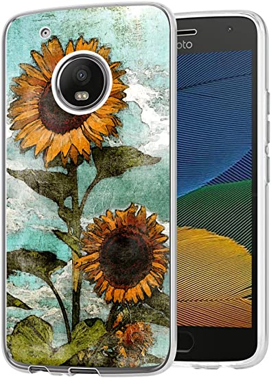 Case Compatible Motorola G5 Case with Flower Slim Shockproof Clear Flexible TPU Cover for Motorola G5