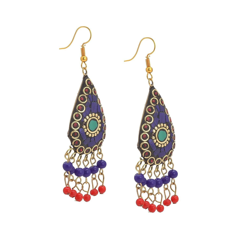 Zephyrr Earrings Tibetan Dangle /& Drop Hook Inlay Work For Women and Girls