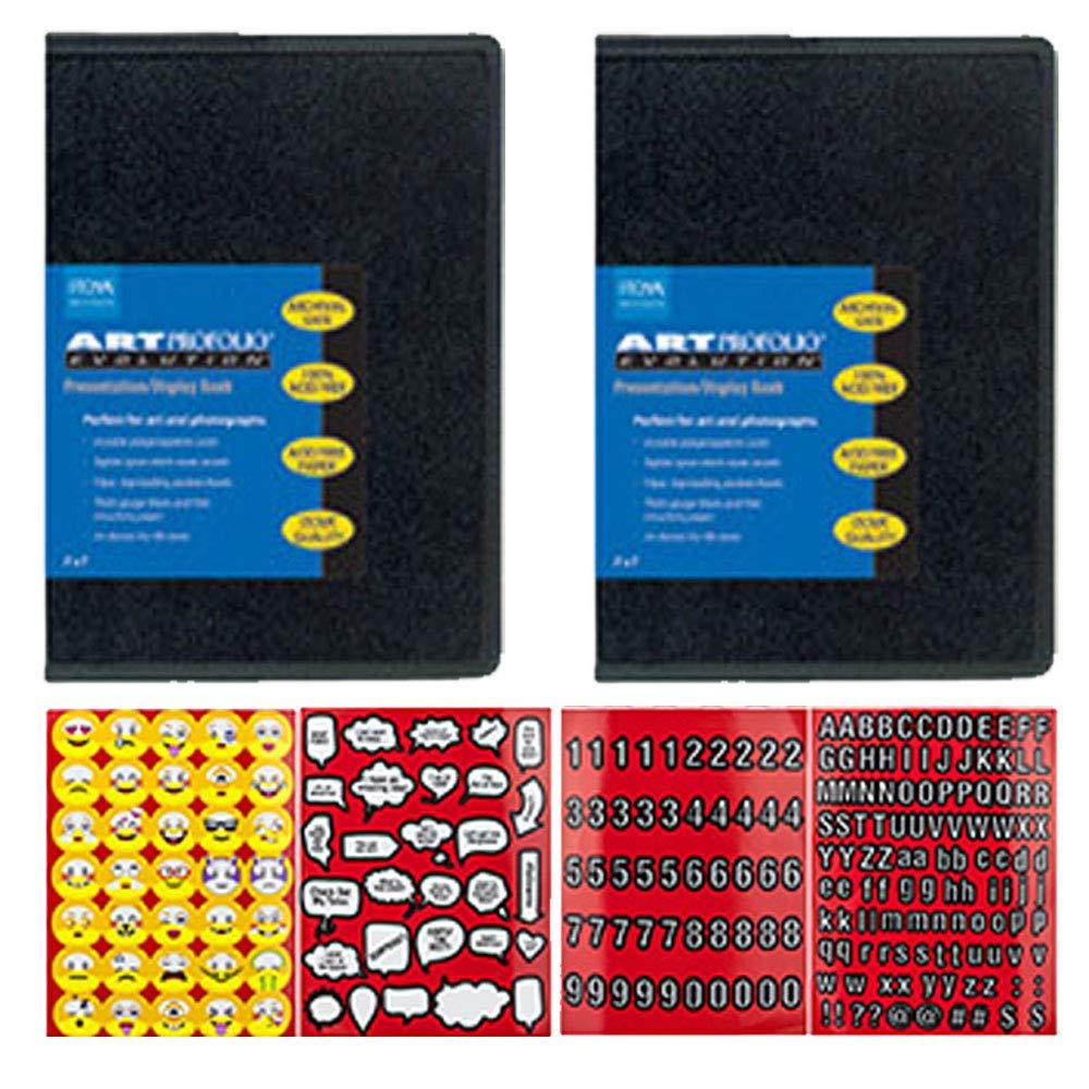 Itoya Art Profolio Evolution Presentation Display Book 12 x 16'' 2 Pack + Scrapbook Emoji Stickers