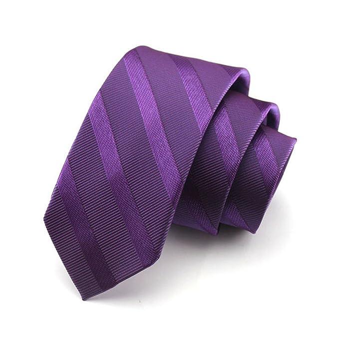 HXCMAN 7cm violeta corbata de seda a rayas corbata clásico diseño ...