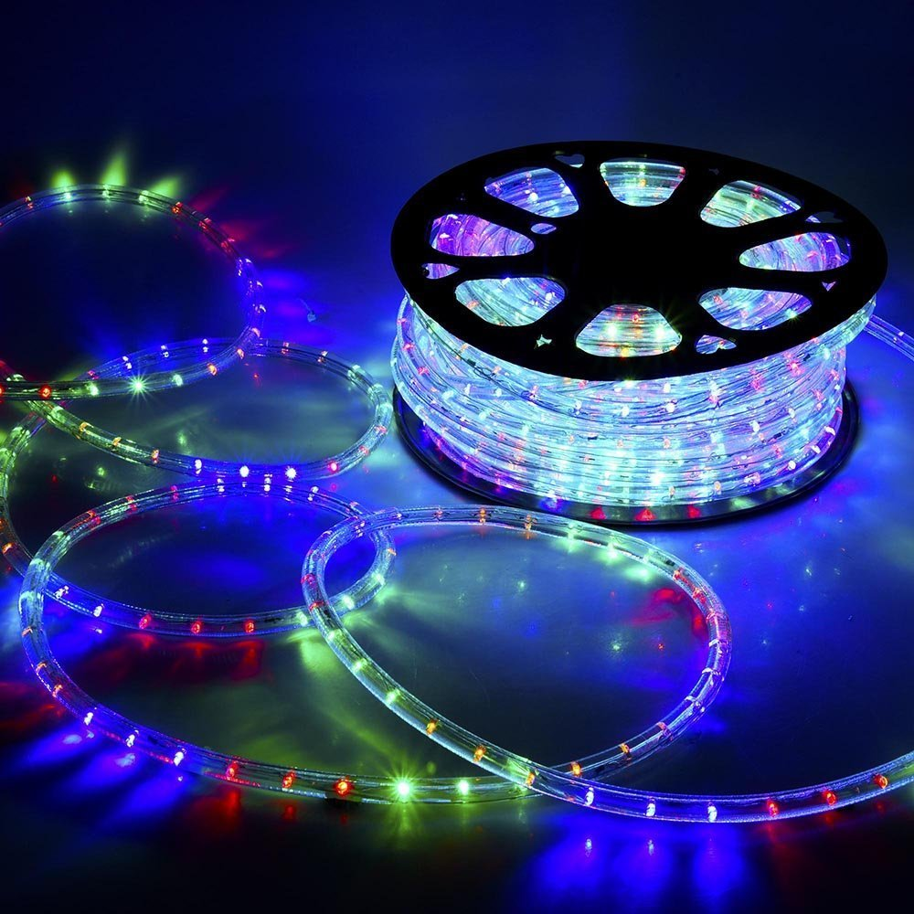 CHIMAERA 150ft RGBY 2 Wire LED Rope Light Indoor Outdoor Home Holiday Valentines Party Disco Restaurant Cafe Decoration