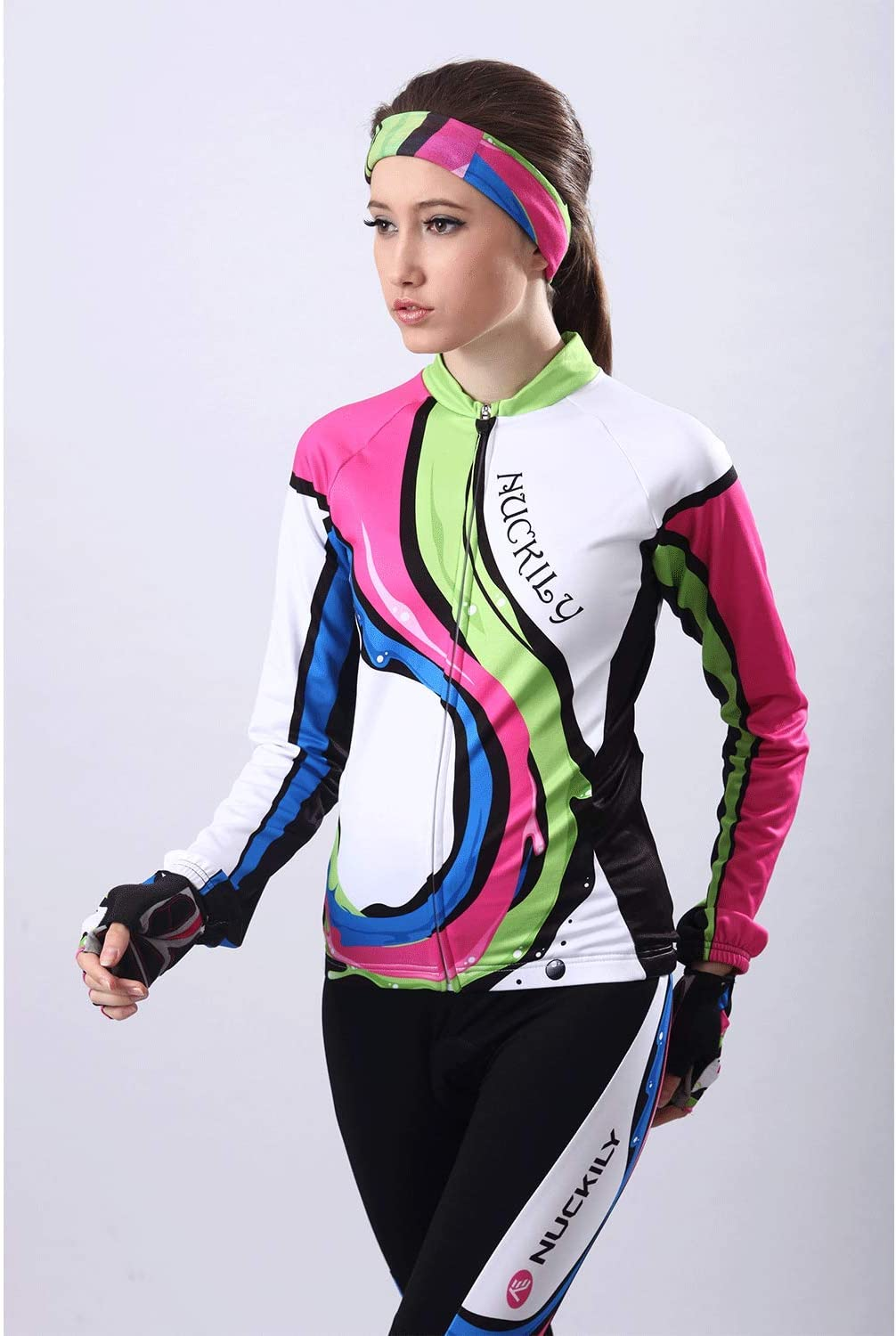 NUCKILY Women Bicycle Suit Spring//Autumn Cycling Jersey and Bike Tights Sport Wear Set