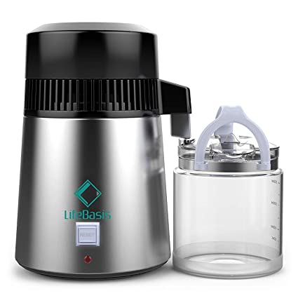 Water Distiller Stainless Steel 4 Liter Water Distillation with Glass  Carafe Nozzle Insert and Pure Efficiently to Make Clean Water for Home Use