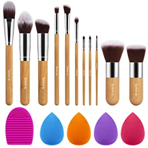 Syntus Bamboo Makeup Brush Set, 11 Makeup Brushes & 4 Blender Sponges & 1 Brush Cleaner Premium Synthetic Foundation Powder Kabuki Blush Concealer Eye Shadow Makeup Brush Kit