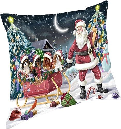 Santa Sled Dogs Christmas Happy Holidays Cavalier King Charles Spaniel Throw Pillow PIL1204 18×18