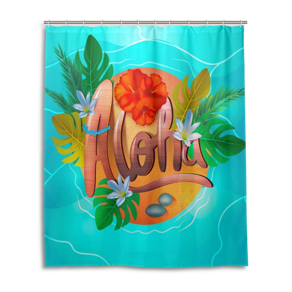 Amazon.com: WEETIME Ethel Ernest Waterproof Bath Curtain Hawaiian ...