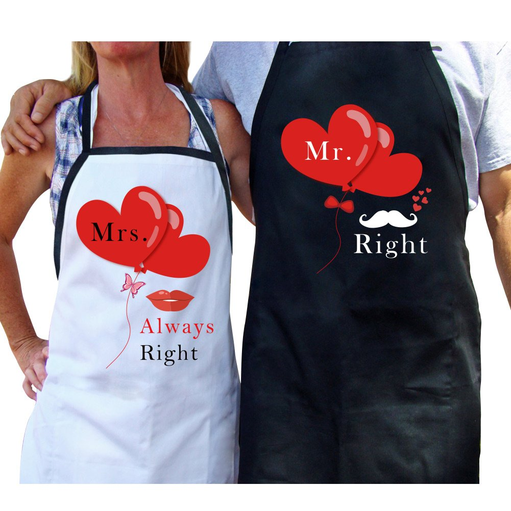 AerWo Mr. and Mrs. Aprons Couple Aprons with Gift Bag Funny Kitchen Aprons Gift Set for Newlyweds - Wedding Engagement Gift