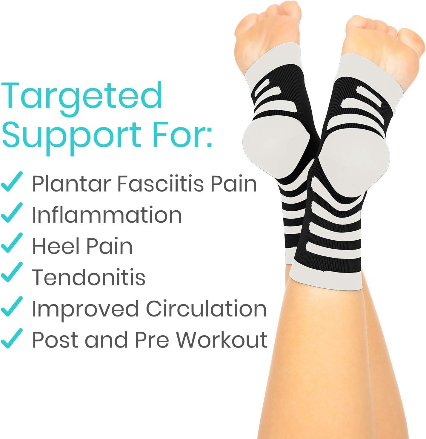 20-30mmHg Ankle Splint Men TruCompress Foot Compression Sleeve Heel Spur Support Toe Wrap Runner Leg Circulation Pain Relief 2 Pairs Women Arthritis Plantar Fasciitis Socks for High Arch