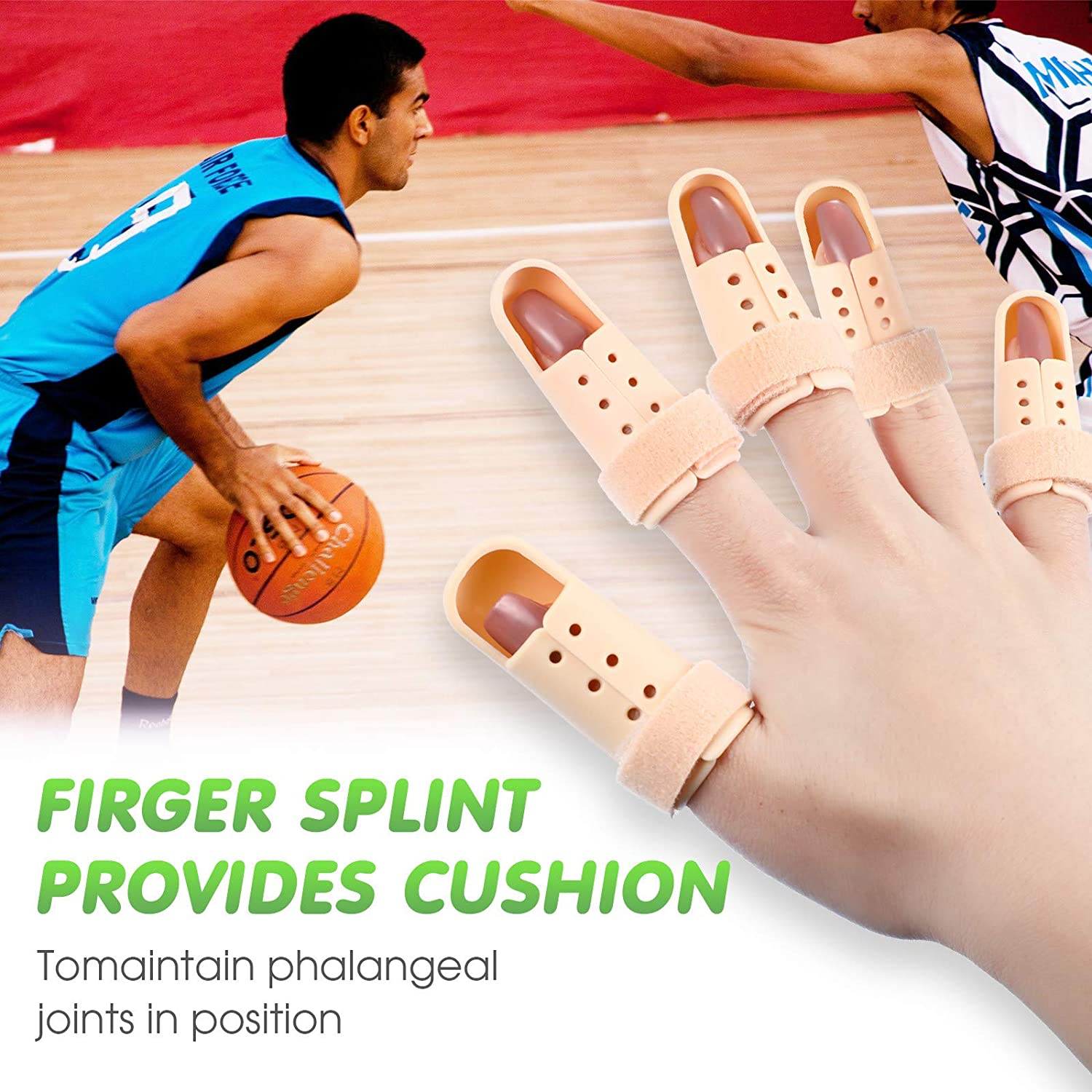 11 Pieces Finger Splints Support Metal Finger Support Plastic Finger Splint with Protective Ventilation Holes for Adults and Children Finger Knuckle Joint Fixation