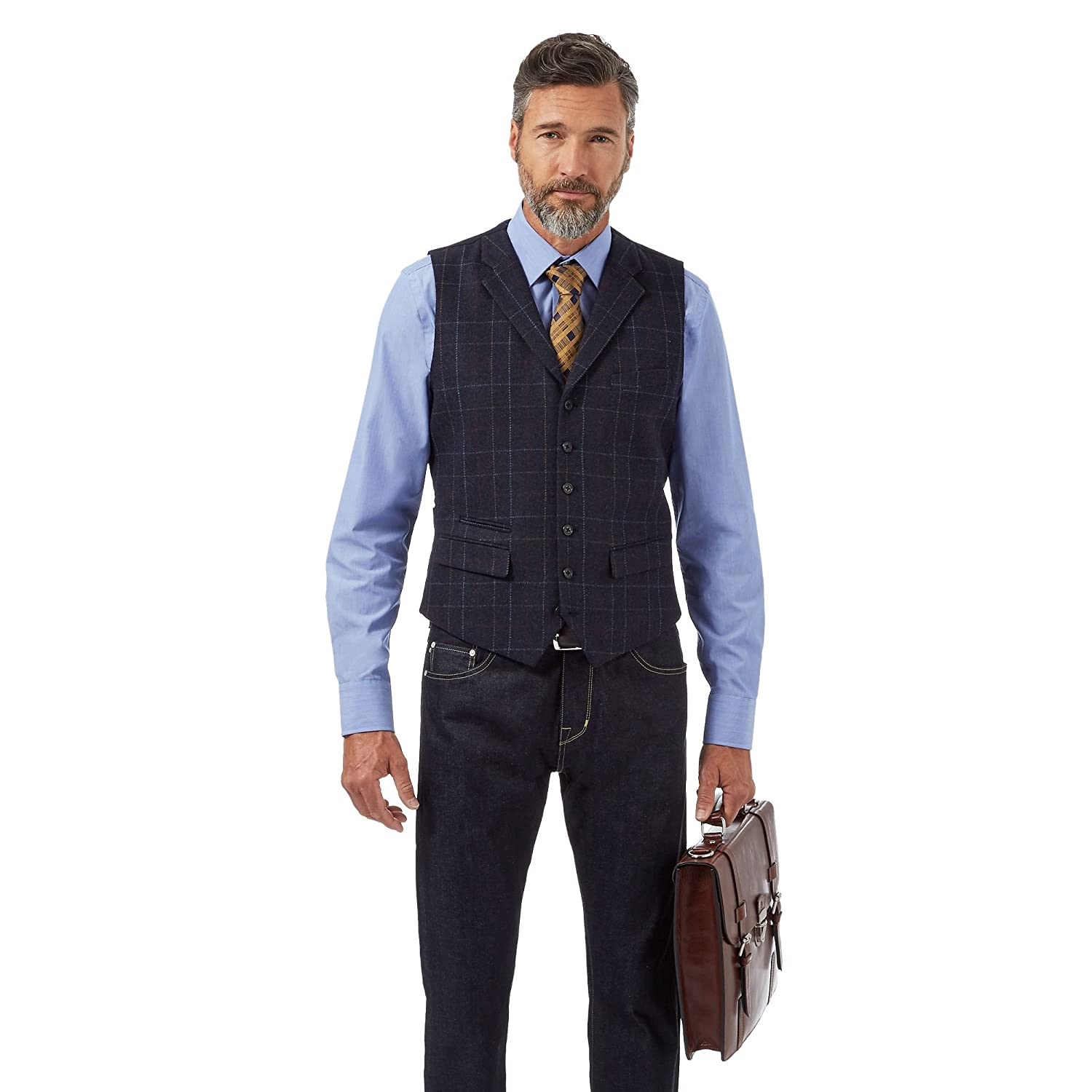 Hammond & Co. By Patrick Grant Big And Tall Navy Checked Wool Blend Waistcoat