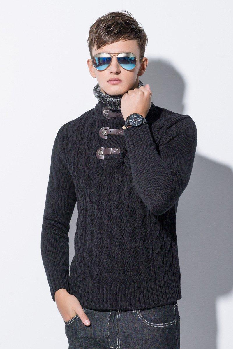 ZHUDJ Männer Männer Pullover Schwarz Pullover