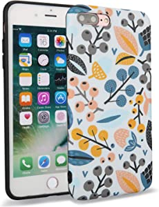 Feelingjoy Cell Phone Case Compatible iPhone 7 Plus 8 Plus IMD Green Yellow Floral Pinecone Poppy Protective Cover for Girls Women (Pinecone,7P/8P)