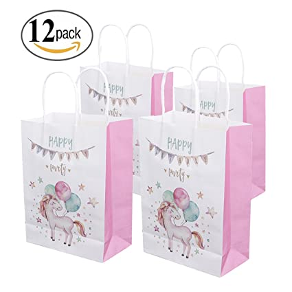 12 UNICORN PARTY FAVORS GIFT TREAT GOODIE CANDY BAGS BIRTHDAY SUPPLIES PINK
