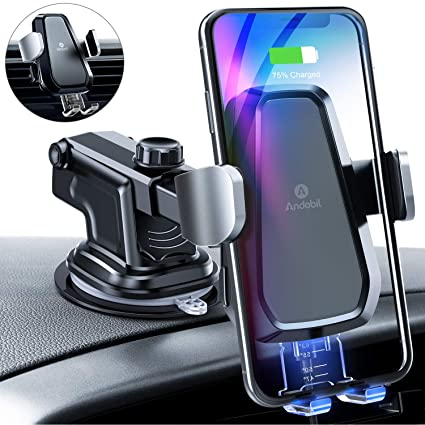 best service c3bb2 46d6a andobil Wireless Car Charger Mount, Auto Clamping 10W/7.5W Qi Fast Charging  Car Mount Air Vent Dashboard Windshield Phone Holder Compatible iPhone Xs  ...