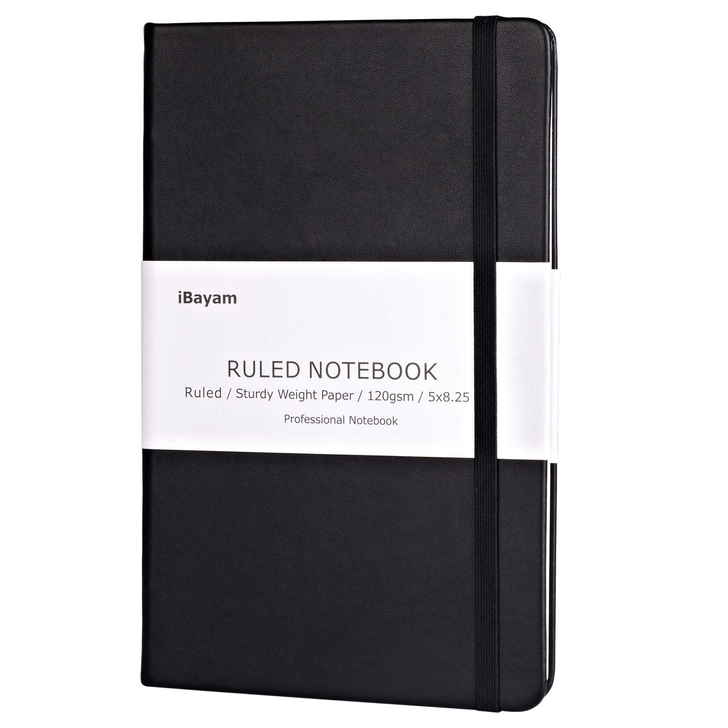Dot Grid Hard Cover Notebook Journal, 120gsm Premium Thick Paper with Fine Inner Pocket, A5 Size(5'x 8.25'), Classic Black Smooth Faux Leather for School & Office Supplies (Dotted) A5 Size(5x 8.25) iBayam 14349480