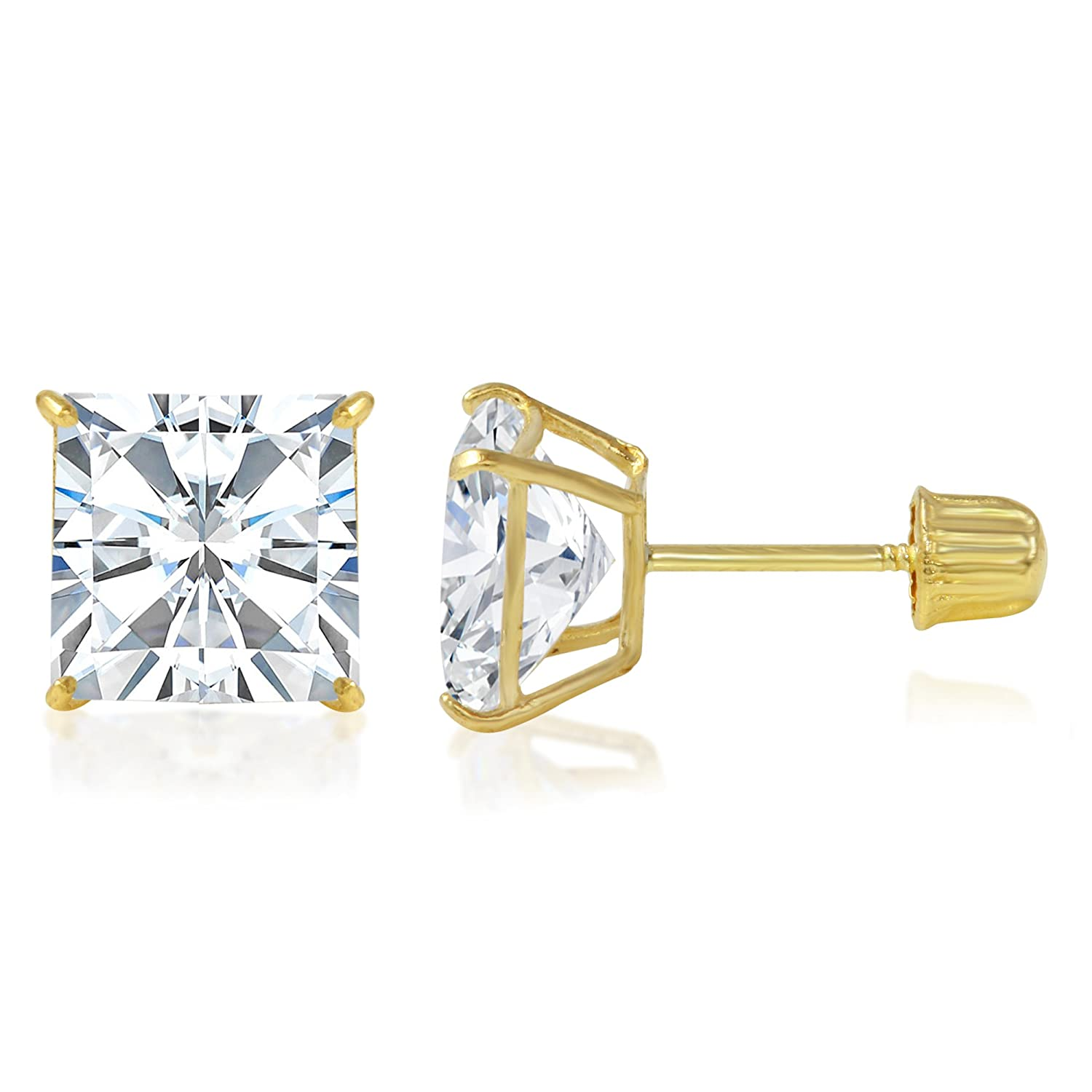 Ioka 14K Yellow OR White Gold Square Solitaire Princess Cut Cubic Zirconia CZ Stud Screw Back Earrings in Various Sizes IG-01-801-526