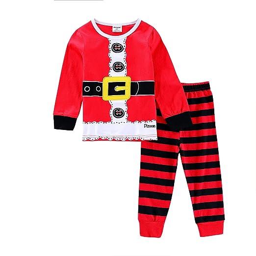 amazoncom christmas pajamas set xmas kids sleepwear with cartoon santa claus clothing