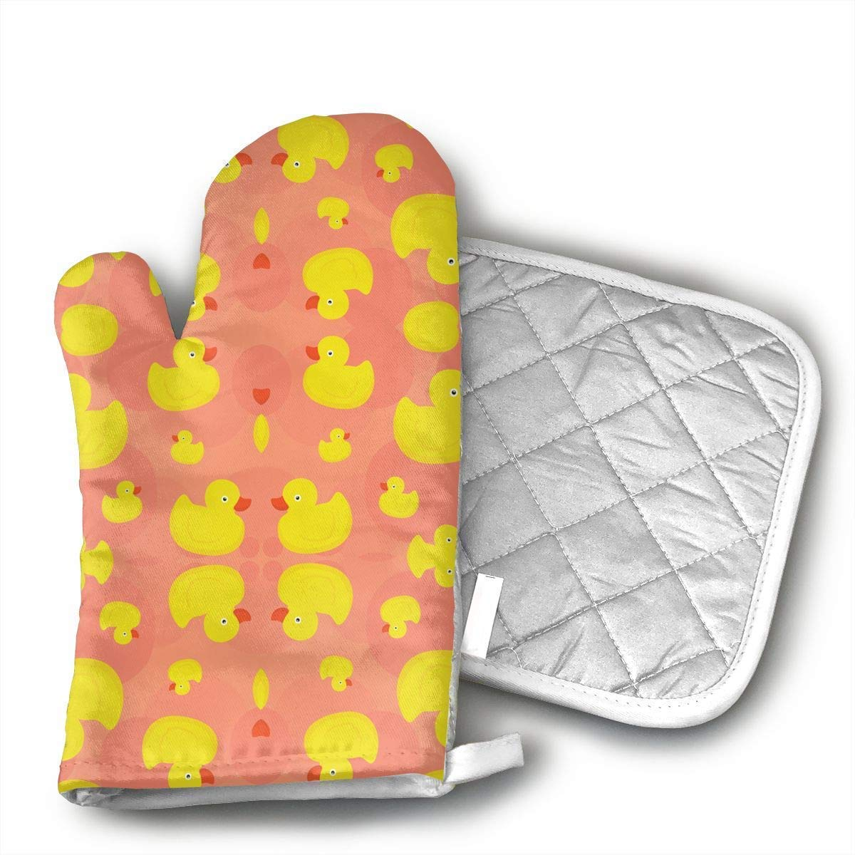 VAMIX Rubber Duck (Pink) Oven Mitts,Professional Heat Resistant Microwave BBQ Oven Insulation Thickening Cotton Gloves Baking Pot Mitts Soft Inner Lining Kitchen Cooking