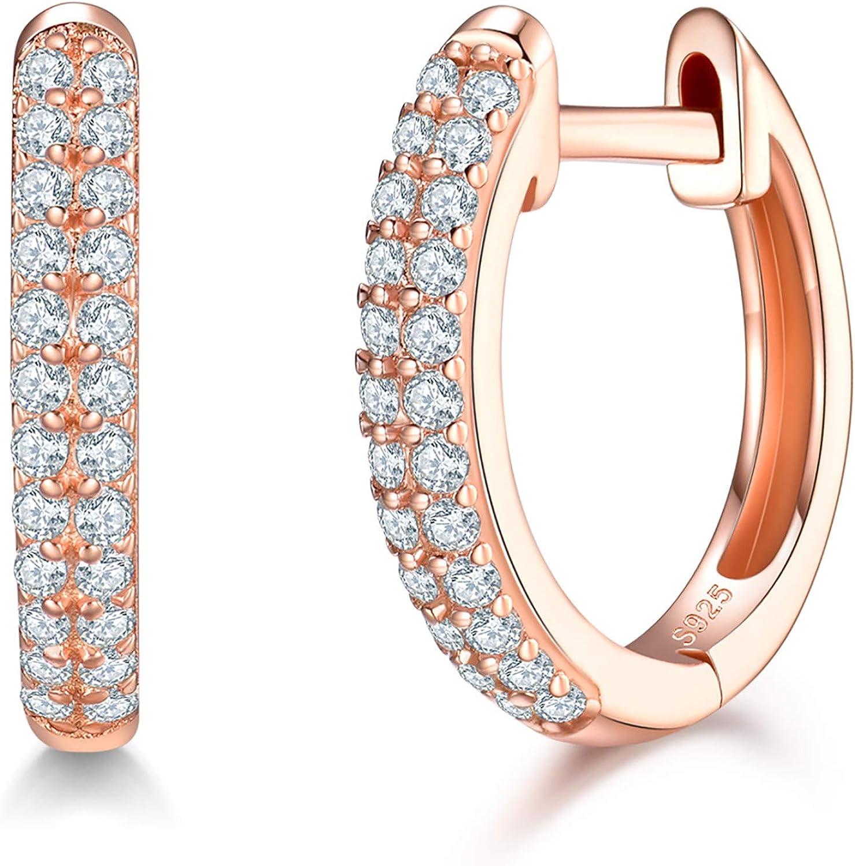 Small Hoop Earrings CZ Huggies Hoop Earring Huggie Hoop Earrings GFER193 Cubic Zirconia Gold Plated on Sterling Silver Hoop Earrings