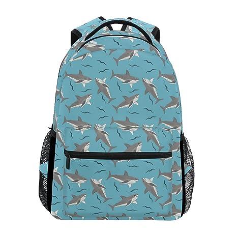 COOSUN Tiburones Casual Patrón Mochila Mochila Escolar Bolsa de Viaje