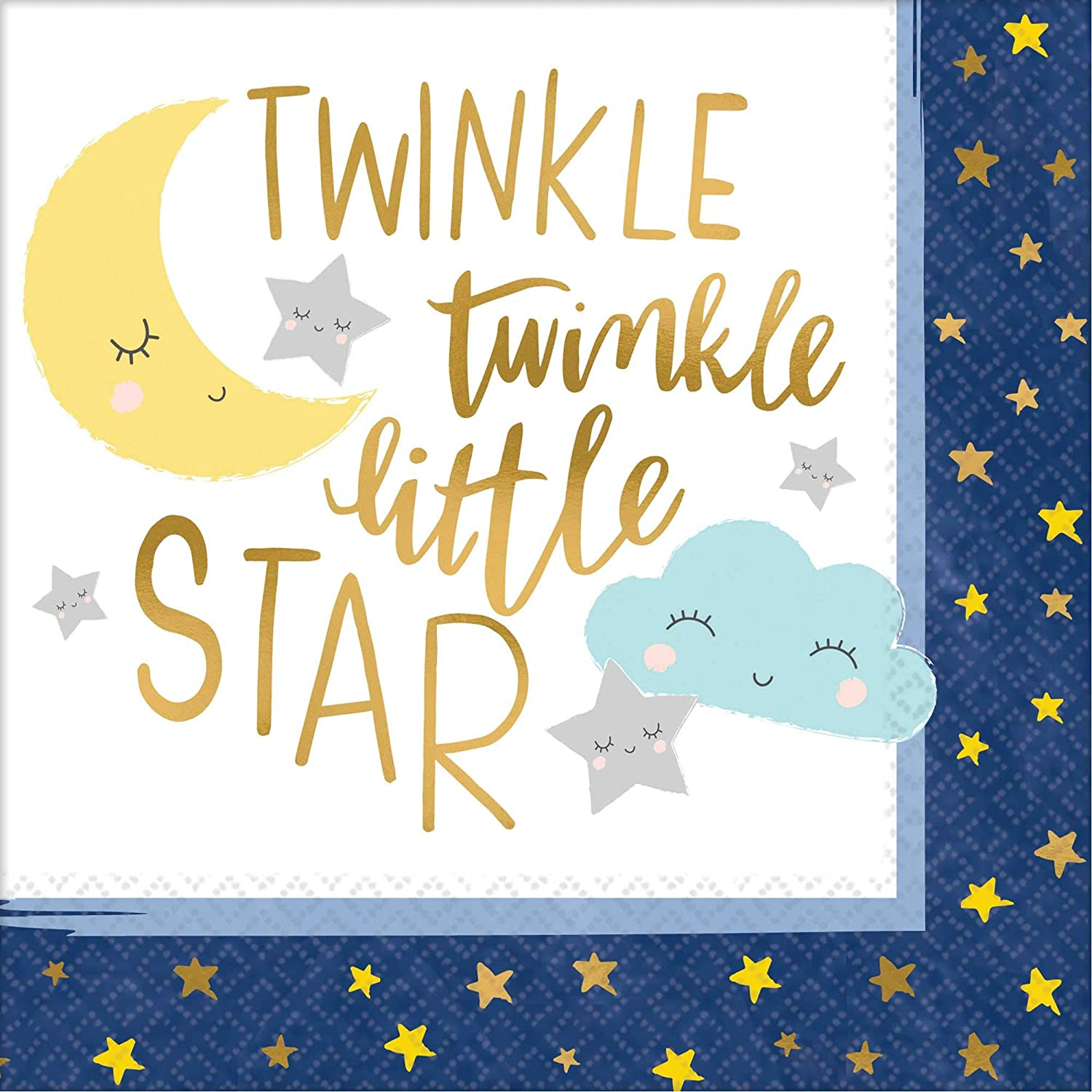 amscan Twinkle Twinkle Little Star Gold Stamp Beverage Napkins-16pc, Blue/White/Multicolor, One Size