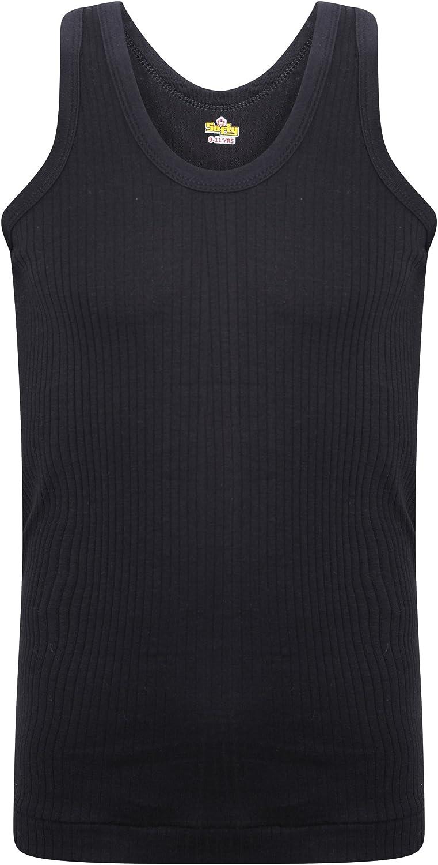 SOFTY/® Kid Children Boy Girl Sleeveless Vest Top School 100/% Cotton Rib 2-3 Year, 2 Piece Black