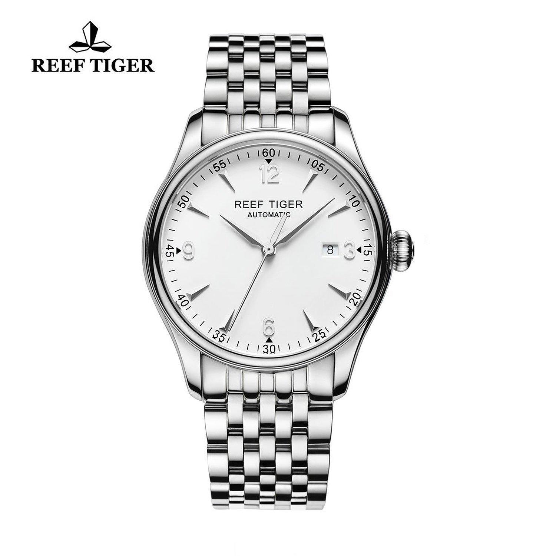Reef Tiger ビジネス 男性 腕時計 日付表示 ステンレススチール 腕時計 ホワイト RGA823 B015CFCE3SRGA823-YWY