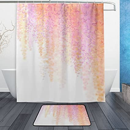 ALAZA Blooming Wisteria Gentle Watercolor Flowers Shower Curtain Hipster Polyester Fabric Bathroom Set With Mats
