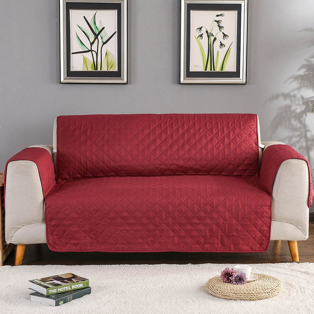Sobibo Reversible Anti-Slip Couch Cover Sofa Slipcover for Chair with Elastic Strap Furniture Protector,Perfect for Kids, Dogs and Cats, Seat Width Up to 21'' (Chair, Burgundy)