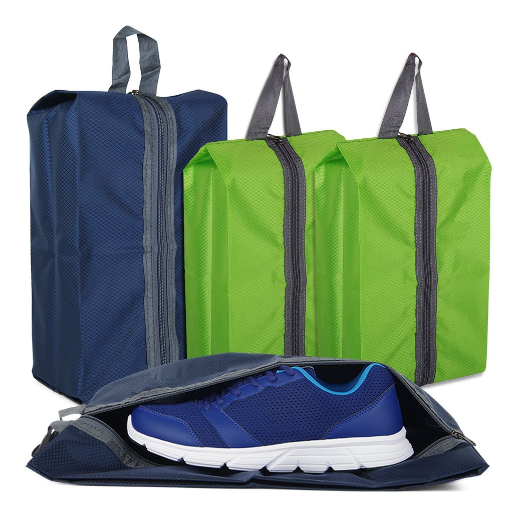 Shoe Bags for Travel Storage Gym Bag Waterproof Nylon With Zipper for Men & Women (2 Green & 2 Blue)