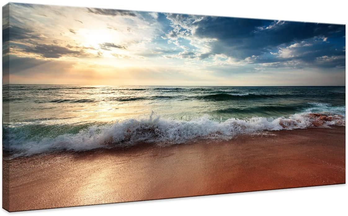 Canvas Wall Art Sunrise Blue Ocean Sea Beach Pictures Art Decor for Living Room Bedroom Home Decorations Modern Stretched and Framed Seascape Waves Landscape Canvas Prints Artwork