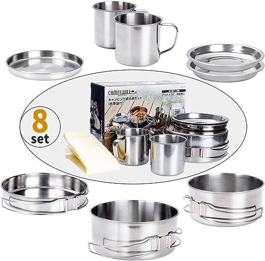 Juning 8 Piezas Utensilios de Cocina para Acampar al Aire Libre El Acero Inoxidable, Excursionismo Mochilero Kit de Cocina