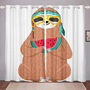 "Erosebridal Kids Sloth Curtains, Funny Animal Window Drapes for Boys Girls Teens, Watermelon Pattern Window Curtain Panels Cartoon Style Window Treatment for Child's Dorm Room, Brown 104""X 90"""