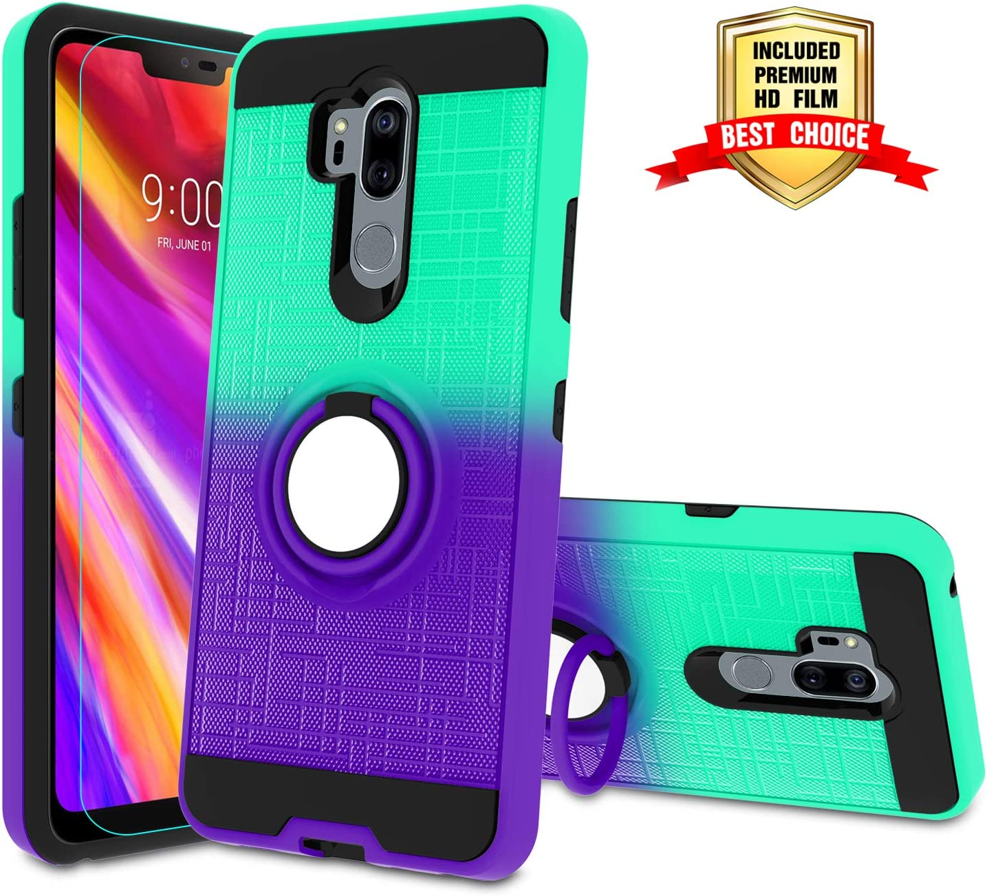 LG G7 Phone Case LG G7 ThinQ Case with HD Screen Protector,Atump 360 Degree Rotating Ring Holder Kickstand Bracket Cover Phone Case for LG G7 Mint/Purple