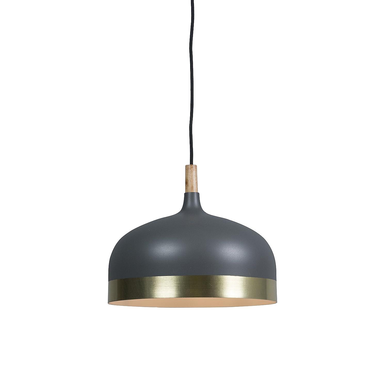 QAZQA Modern Pendelleuchte Pendellampe Hängelampe Lampe Leuchte Emperor dunkelgrau mit Messing Innenbeleuchtung Wohnzimmerlampe Schlafzimmer Küche Metall Rund LED geeignet E27 Max. 1 x
