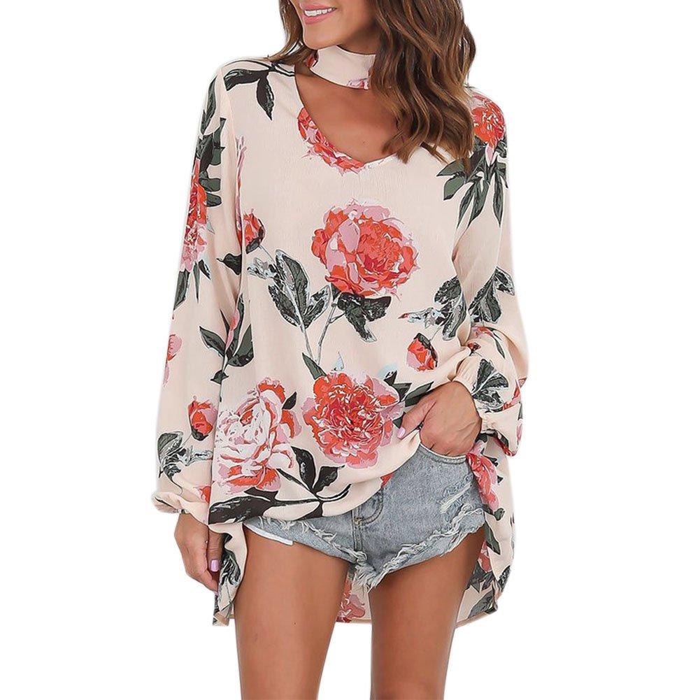 Petalum Blouse Chemise T-shirt Femme en Mousseline de Soie Chiffon Lâche Choker Imprimé Floral Vintage Longues Manches Col V Top Shirt Lâche Loose Top Haut 01B0805-HCY