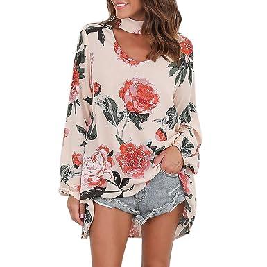 Petalum Damen Bluse Elegant Langarm Choker Blumen Druck V-Ausschnitt Lose  Tunika Bluse Top Shirt d37d212d1f
