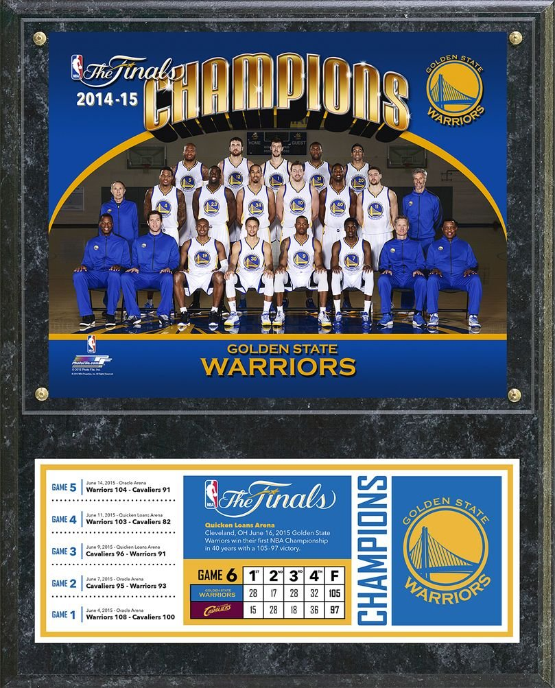 Photo File NBA Golden State Warriors 2015 Champs Team Sit-Down Plaque, 12 x 15, Navy