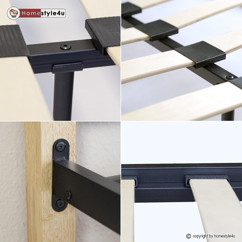 Pfosten Holz Natur Metallbett 160 x 200 Mit Lattenrost Bettgestell Metall Homestyle4u 1254