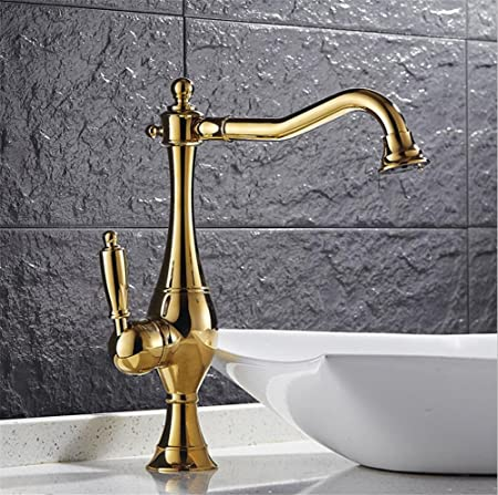 Homjo Gold Kitchen Faucet Luxury Antique Brass Ceramic Single Handle