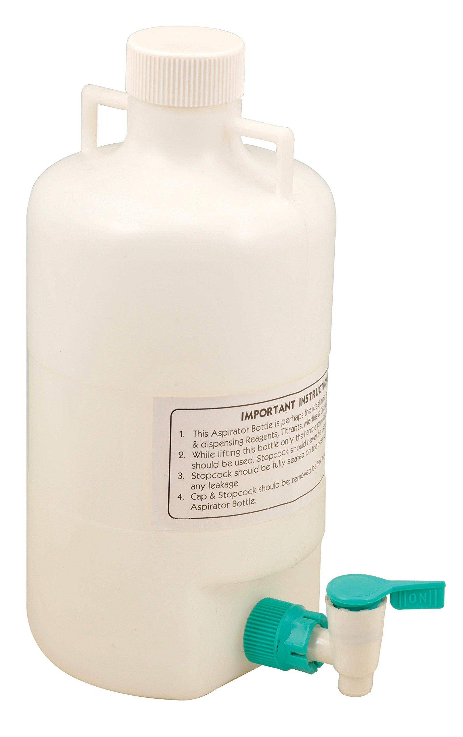 5 Liter Polypropylene Aspirator Bottle with Leak Proof Spigot - Eisco Labs